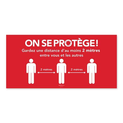 Affiche murale / Horizontale / On se protège / Distanciation / Rouge