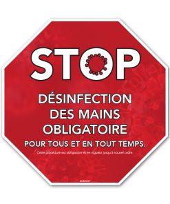 Affiches comptoir / Octogonale / Désinfection des mains / Rouge