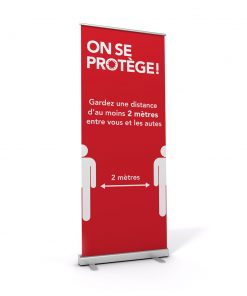 Bannière rétractable / Roll-up / On se protège / Distanciation / Rouge