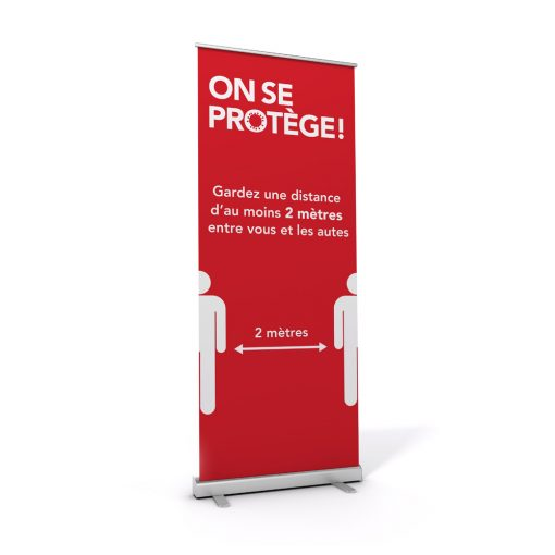 Roll-up display / On se protège / Distancing / Red
