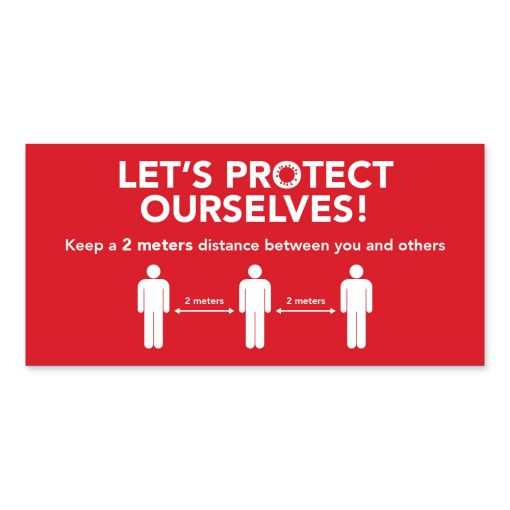 Wall poster / Landscape / Let's protect ourselves / Distancing / Red